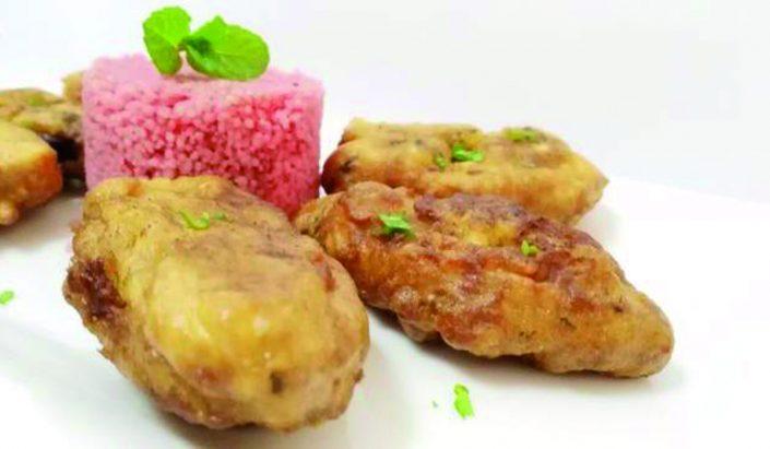 Ancas de rana en tempura de hierbabuena con cuscús de remolacha