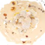 ancas de rana en crema de castañas